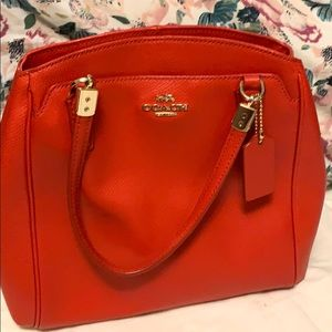 Vibrant Red Coach Purse